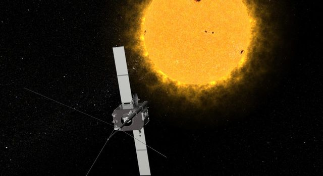 An artist's conception of one of NASA's Solar Terrestrial Relations Observatory (STEREO) spacecraft. The two observatories currently lie on either side of the sun, providing views of the entire sun simultaneously.