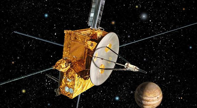 An artist's impression of Ulysses spacecraft at Jupiter. Ulysses used Jupiter's powerful gravity to hurl it out of the Plane of the Ecliptic (where most planets and satellites orbit) so it could study the polar regions of the Sun.