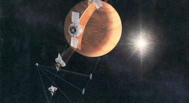 An artist's concept of the Magellan spacecraft making a radar map of Venus. The spacecraft was commanded to plunge into Venus' atmosphere in 1994 as part of a final experiment to gather atmospheric data.