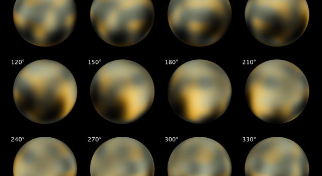This is the most detailed view to date of the entire surface of the dwarf planet Pluto, as constructed from multiple NASA Hubble Space Telescope photographs taken from 2002 to 2003.