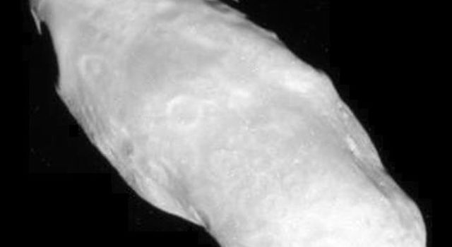 Saturn's potato-shaped moon Prometheus is shown in this close-up from NASA's Cassini spacecraft.