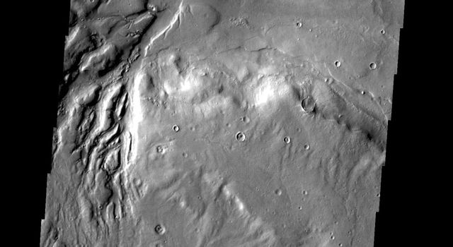 This image from NASA's 2001 Mars Odyssey spacecraft shows several channels dissecting the rim of Semeykin Crater.