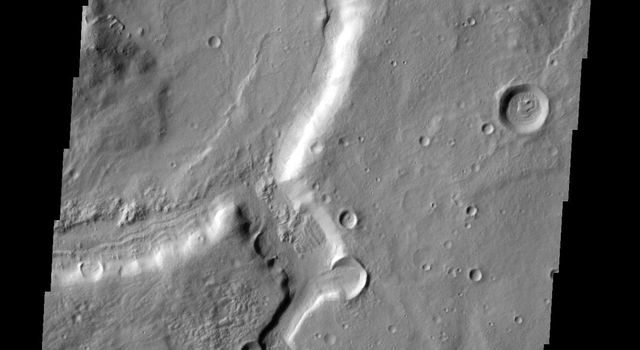 Two channels are visible in this image from NASA's 2001 Mars Odyssey spacecraft . The smaller one near the bottom did not carve as deeply as the larger channel at the top. The channel near the top of the image is near the origin of Mamers Valles.