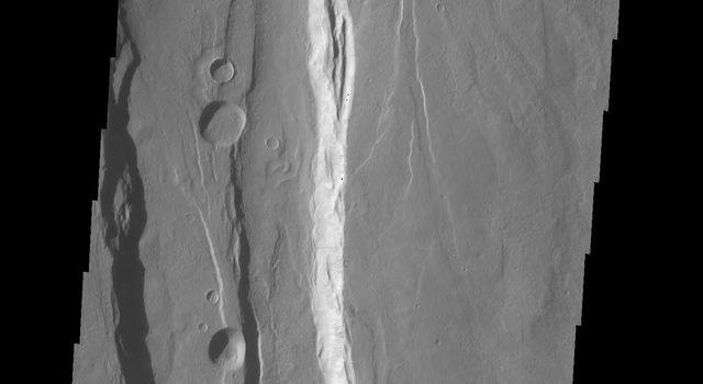 The large graben in this image from NASA's 2001 Mars Odyssey spacecraft is part of a series of graben located on the southern flank of Alba Mons. This collection of graben is called Ceraunius Fossae. The term fossae means long, linear depressions.