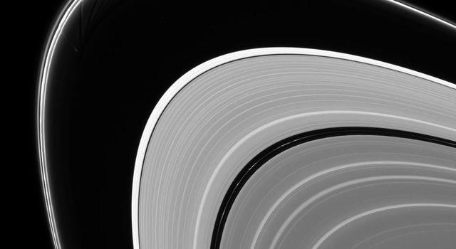 Prometheus is caught in the act of creating gores and streamers in the F ring. Scientists believe that Prometheus and its partner-moon Pandora are responsible for much of the structure in the F ring as shown by NASA's Cassini spacecraft.
