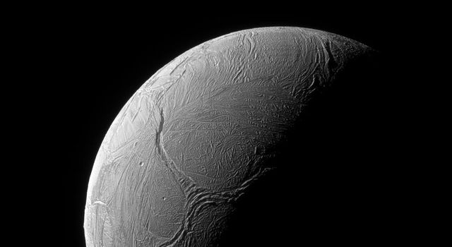 A sinuous feature snakes northward from Enceladus' south pole like a giant tentacle in this image from NASA's Cassini spacecraft. This feature, is actually tectonic in nature, created by stresses in Enceladus' icy shell.