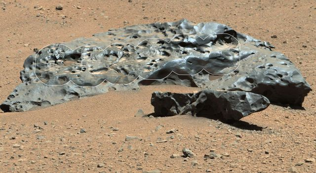 This rock encountered by NASA's Curiosity Mars rover is an iron meteorite called 'Lebanon,' similar in shape and luster to iron meteorites found on Mars by the previous generation of rovers, Spirit and Opportunity.