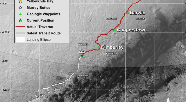 This map shows in red the route driven by NASA's Curiosity Mars rover from its landing site at 'Bradbury Landing.' The white line shows the planned route to reach destinations on Mount Sharp. Sol 669 will complete one Martian year.