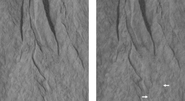 This pair of images covers one of many sites on Mars where researchers use the HiRISE camera on NASA's Mars Reconnaissance Orbiter to study changes in gullies on slopes. Changes are visible in deposits near the lower end of this gully.