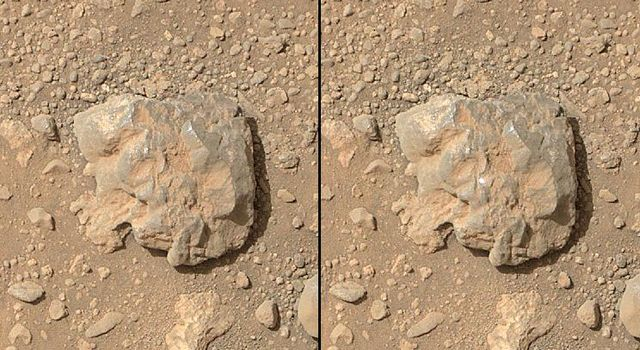 NASA's Curiosity Mars rover used the Mars Hand Lens Imager (MAHLI) camera on its arm to catch the first images of sparks produced by the rover's laser being shot at a rock on Mars. The left image is from before the laser zapped this rock, called 'Nova'.