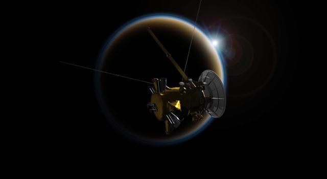 Artist's rendering of NASA's Cassini spacecraft observing a sunset through Titan's hazy atmosphere.