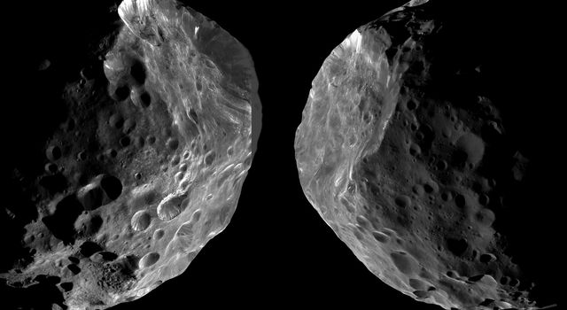 The image on the left shows Cassini's view on approach to Phoebe, while the right shows the spacecraft's departing perspective. As it entered the Saturn system, NASA's Cassini spacecraft performed its first targeted flyby of one of the planet's moons.