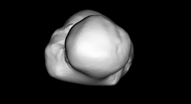 Images of comet 67P/Churyumov-Gerasimenko taken on July 14, 2014, by the OSIRIS imaging system aboard ESA's Rosetta spacecraft have allowed scientists to create this three-dimensional shape model of the nucleus.