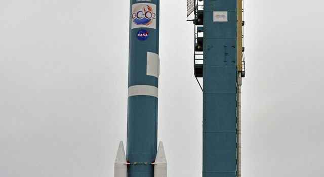 NASA's Orbiting Carbon Observatory-2, perched atop a United Launch Alliance Delta II rocket, awaits launch at the Vandenberg Air Force Base in central California.
