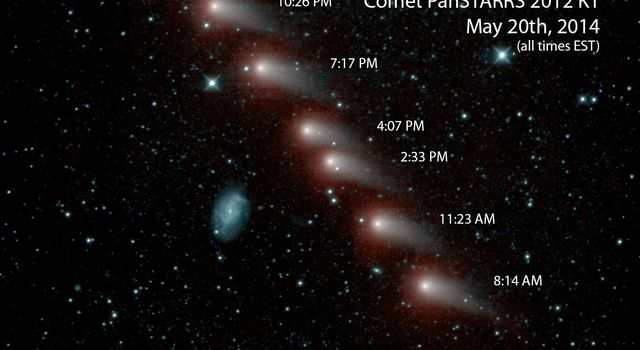 NASA's NEOWISE mission captured this series of pictures of comet C/2012 K1 -- also known as comet Pan-STARRS -- as it swept across our skies on May 20, 2014.
