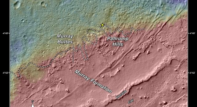 This topography map shows a portion of the Gale Crater region on Mars, where NASA's Mars Curiosity rover landed on August 6, 2014. The rover (marked with a star) is currently headed toward 'Pahrump Hills.'