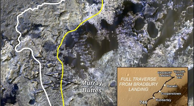 The route of NASA's Mars Curiosity rover up the slopes of Mount Sharp on Mars is indicated in yellow in this image. The rover's current position is marked with a star. This new route provides excellent access to many features in the 'Murray Formation.'