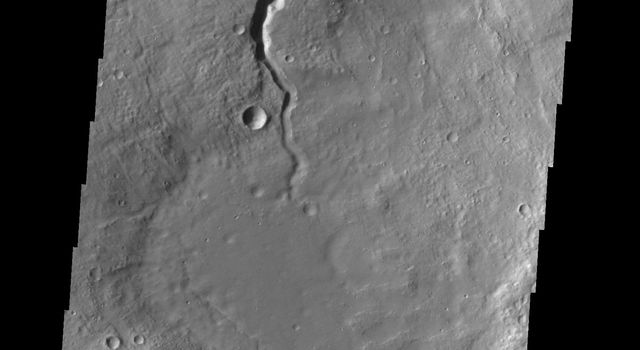 Like the previous image from NASA's 2001 Mars Odyssey spacecraft, this one shows one of the many unnamed channels on the northern margin of Arabia Terra.