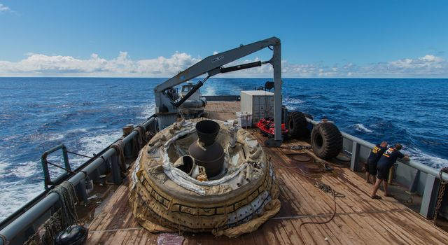 The first 'flown' test vehicle of NASA's Low-Density Supersonic Decelerator project relaxes aboard the recovery vessel Kahana.