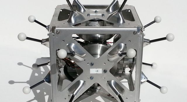 This is a hopping/tumbling robot called 'Hedgehog' that scientists at NASA's Jet Propulsion Laboratory will test on a parabolic aircraft flight.