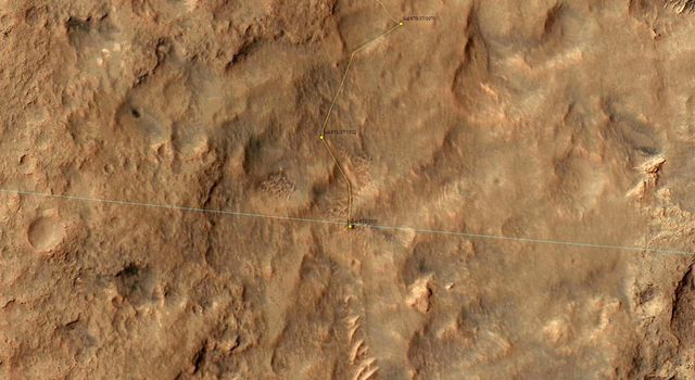 NASA's Mars Reconnaissance Orbiter captured this image on 27 June 2014, when Curiosity had just crossed the edge of the 3-sigma landing.