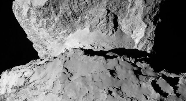 This image from ESA's Rosetta spacecraft is of 67P/Churyumov-Gerasimenko shows the diversity of surface structures on the comet's nucleus.