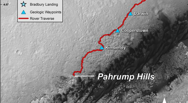 This map shows the route driven by NASA's Curiosity Mars rover from the 'Bradbury Landing' location where it landed in August 2012 to the 'Pahrump Hills' outcrop where it drilled into the lowest part of Mount Sharp.