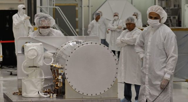 This photo shows the Optical PAyload for Lasercomm Science (OPALS) flight terminal at JPL being prepared for shipment to NASA's Kennedy Space Center.