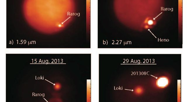 These images show Jupiter's moon Io obtained at different infrared wavelengths with the W. M. Keck Observatory's 10-meter Keck II telescope on Aug. 15, 2013 (a-c), and the Gemini North telescope on Aug. 29, 2013 (d).