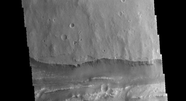 This image captured by NASA's 2001 Mars Odyssey spacecraft shows a portion of Ravi Vallis.