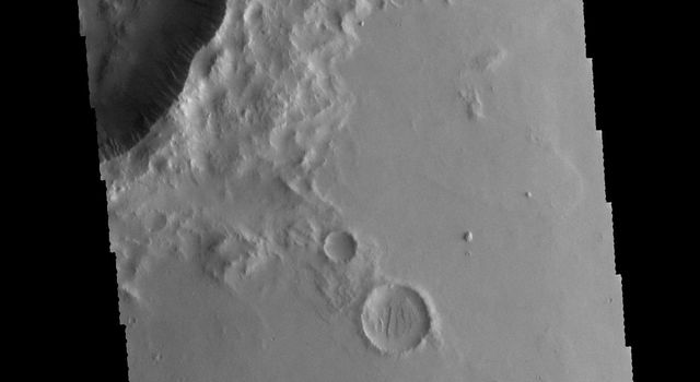 This image from NASA's 2001 Mars Odyssey spacecraft shows dark slope streaks on the inner rim of an unnamed crater in Amazonis Planitia.