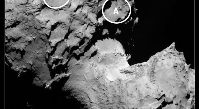This annotated image depicts the two potential landing sites for ESA's Rosetta's Philae lander that are on the comet's larger lobe.