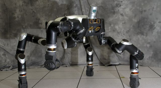 RoboSimian is an ape-like robot that moves around on four limbs and was designed and built at JPL.