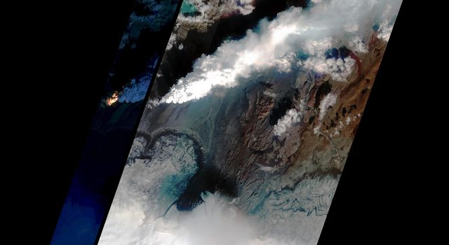 This image shows Iceland's volcanic eruption monitored by NASA's EO-1 spacecraft. To the south is the edge of Dyngjujökull and to the north is the volcano called Askja.