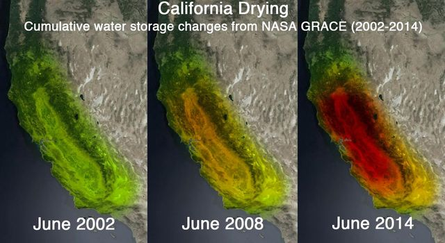 This trio of images depicts satellite observations of declining water storage in California as seen by NASA's GRACE satellites.