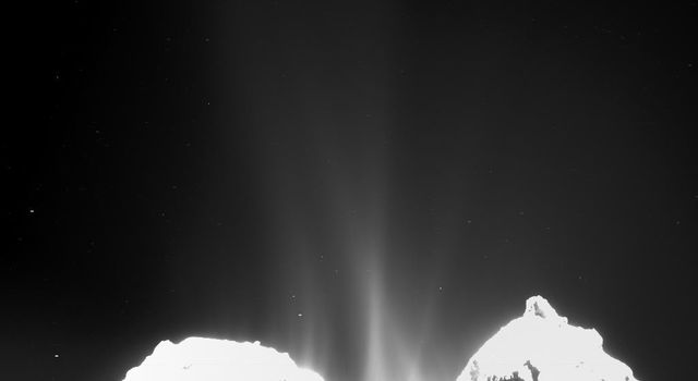 This image was taken by the Optical, Spectroscopic, and Infrared Remote Imaging System, Rosetta's main onboard scientific imaging system, on Sept. 10, 2014. Jets of cometary activity can be seen along almost the entire body of the comet.