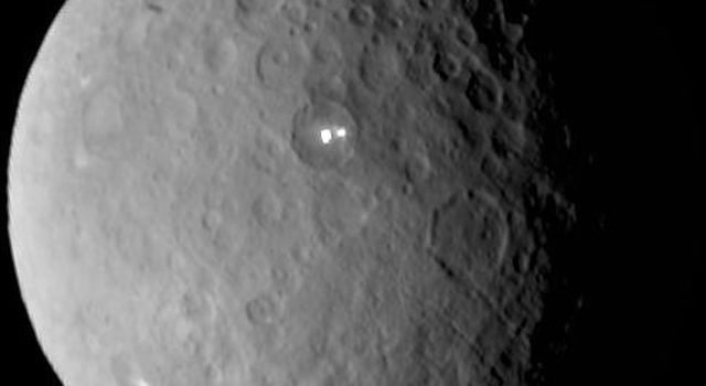 Ceres rotates in this frame from a movie comprised of images taken by NASA's Dawn mission during its approach to the dwarf planet. The images were taken on Feb. 19, 2015, from a distance of nearly 29,000 miles (46,000 kilometers).