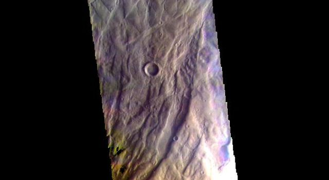 This false color image captured by NASA's 2001 Mars Odyssey spacecraft shows part of Claritas Fossae.