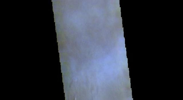 This false color image captured by NASA's 2001 Mars Odyssey spacecraft shows part of the summit caldera of Arsia Mons. The mottled bluish tones are from clouds.