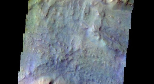 The THEMIS VIS camera contains 5 filters. The data from different filters can be combined in multiple ways to create a false color image. This false color image from NASA's 2001 Mars Odyssey spacecraft shows part of Daga Vallis on Eos Mensa.