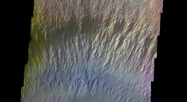 The THEMIS VIS camera contains 5 filters. The data from different filters can be combined in multiple ways to create a false color image. This false color image from NASA's 2001 Mars Odyssey spacecraft shows part of the interior of Ganges Chasma.