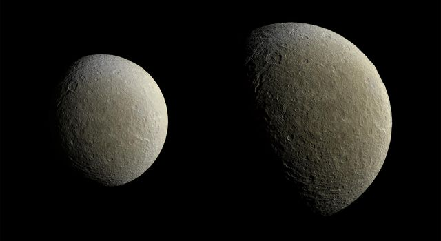 NASA's Cassini captured these views of Saturn's icy moon Rhea on Feb. 9. The spacecraft returned to equatorial orbits around Saturn in March after nearly two years, allowing the mission to once again have close encounters with moons other than Titan.