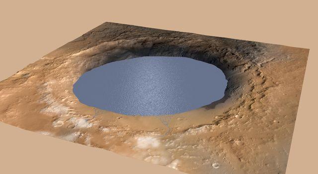 Simulated View of Gale Crater Lake on Mars