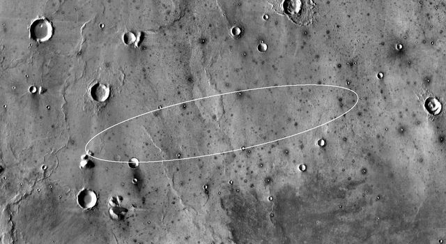 This map shows the single area under continuing evaluation as the InSight mission's Mars landing site, as of a year before the mission's May 2016 launch of flat-lying Elysium Planitia.