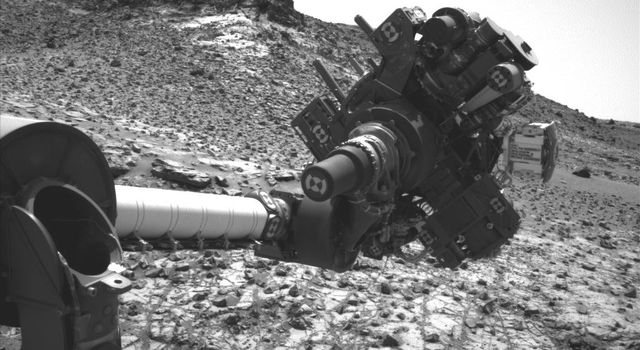 This image from the Navigation Camera (Navcam) on NASA's Curiosity Mars rover shows the position in which the rover held its arm for several days.