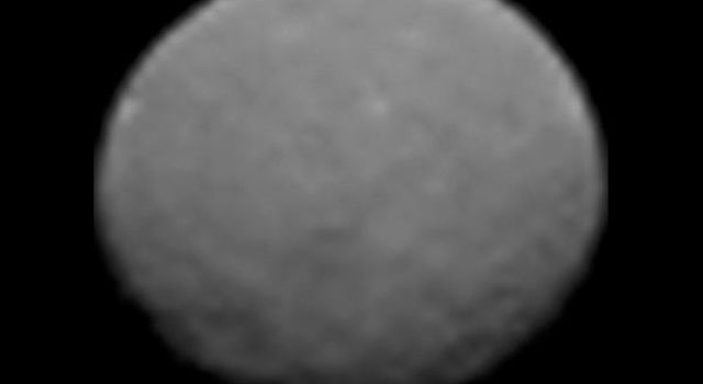 This frame from an animation of the dwarf planet Ceres was made by combining images taken by the Dawn spacecraft on January 25, 2015. These images of Ceres, and they represent the highest-resolution views to date of the dwarf planet.