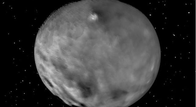 This still from an animation showcases a series of images NASA's Dawn spacecraft took on approach to Ceres on Feb. 4, 2015 at a distance of about 90,000 miles (145,000 kilometers) from the dwarf planet.