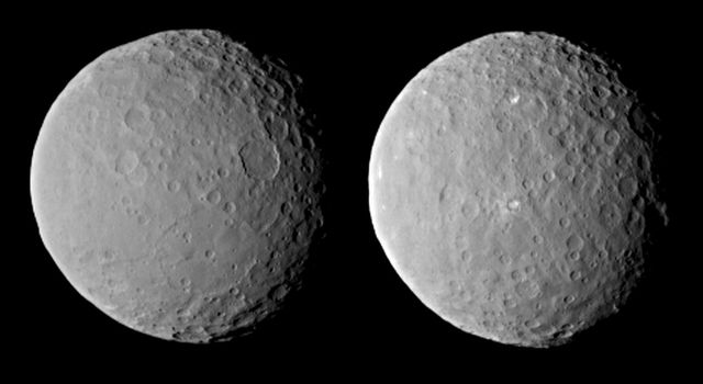These images of dwarf planet Ceres, processed to enhance clarity, were taken on Feb. 19, 2015, from a distance of about 29,000 miles (46,000 kilometers), by NASA's Dawn spacecraft. Dawn observed Ceres completing one full rotation, lasting about nine hours