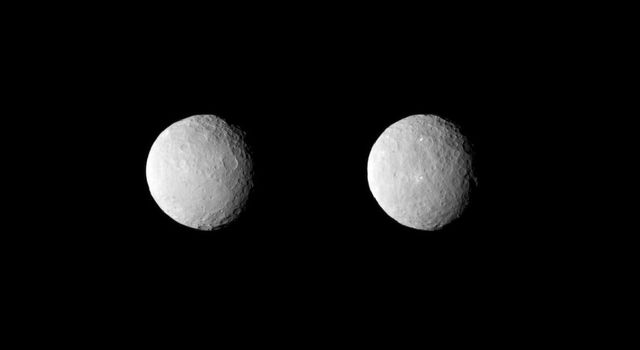 NASA's Dawn spacecraft obtained these uncropped images of dwarf planet Ceres on Feb. 19, 2015, from a distance of about 29,000 miles (46,000 kilometers). The images show the full range of different crater shapes that can be found at Ceres' surface.