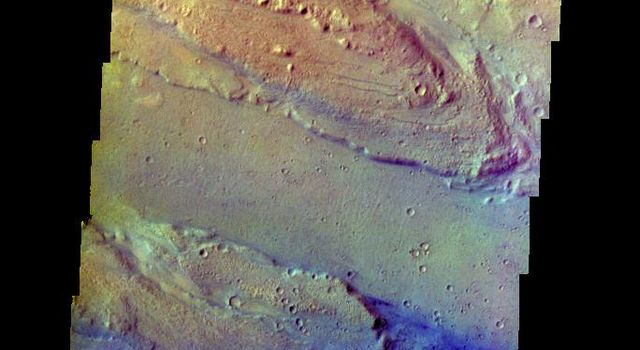 The THEMIS VIS camera contains 5 filters. The data from different filters can be combined in multiple ways to create a false color image. This false color image from NASA's 2001 Mars Odyssey spacecraft shows part of Ares Vallis.